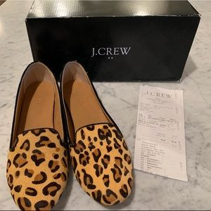 J. Crew Leopard Calf Hair Cora Loafers Size 8.5